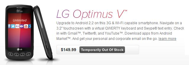 LG Optimus V at VirginMobileUSA.com
